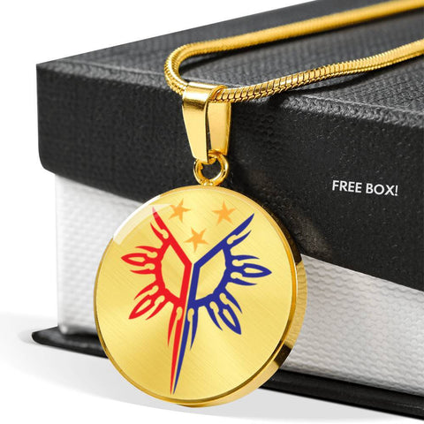 Filipino Heritage, Tribal Warrior Sun - Luxury Necklace (Stainless Steel or Gold Finish) Jewelry Luxury Necklace (Gold)