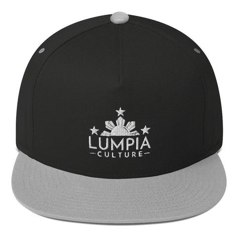 "Lumpia Culture™ ""Original"" Embroidered Flat Bill Hat - Snapback Black/ Grey"