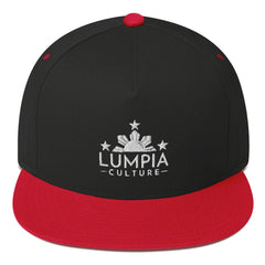"Lumpia Culture™ ""Original"" Embroidered Flat Bill Hat - Snapback Black/ Red"