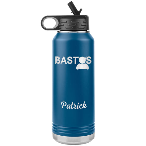 "Personalized (Enter Any Name) ""Bastos"" - Laser Engraved, Vacuum Insulated, Custom Water Bottle - 32oz Tumblers Blue"