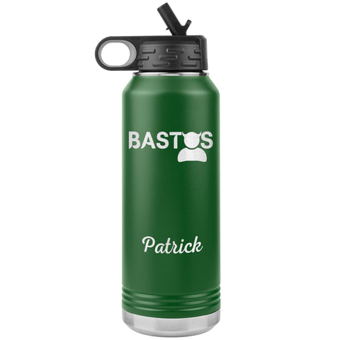 "Personalized (Enter Any Name) ""Bastos"" - Laser Engraved, Vacuum Insulated, Custom Water Bottle - 32oz Tumblers Green"