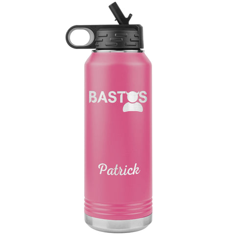"Personalized (Enter Any Name) ""Bastos"" - Laser Engraved, Vacuum Insulated, Custom Water Bottle - 32oz Tumblers Pink"