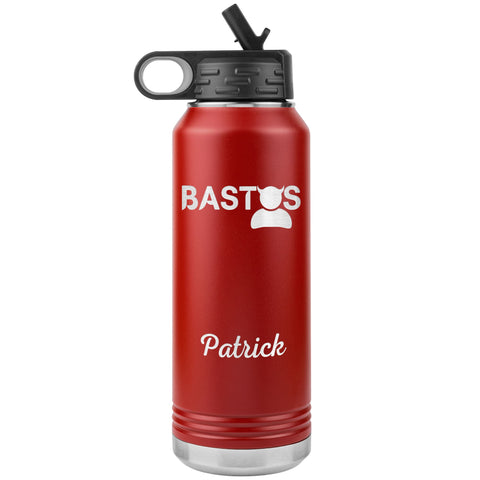 "Personalized (Enter Any Name) ""Bastos"" - Laser Engraved, Vacuum Insulated, Custom Water Bottle - 32oz Tumblers Red"