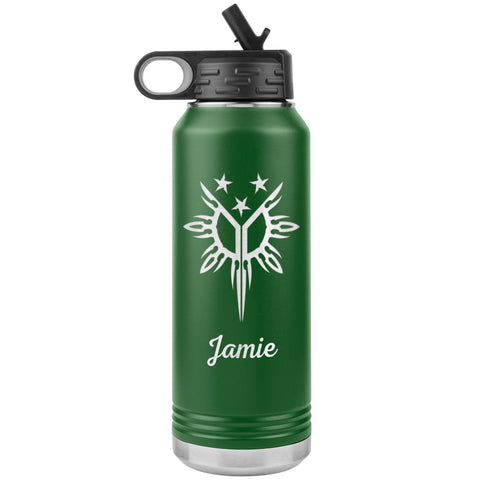 "Personalized (Enter Any Name) ""Filipino Heritage, Tribal Sun"" - Laser Engraved, Vacuum Insulated, Custom Water Bottle - 32oz Tumblers Green"