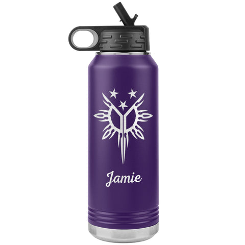 "Personalized (Enter Any Name) ""Filipino Heritage, Tribal Sun"" - Laser Engraved, Vacuum Insulated, Custom Water Bottle - 32oz Tumblers Purple"