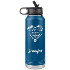 "Personalized (Enter Any Name) ""Nurse"" - Laser Engraved, Vacuum Insulated, Custom Water Bottle - 32oz Tumblers Blue"