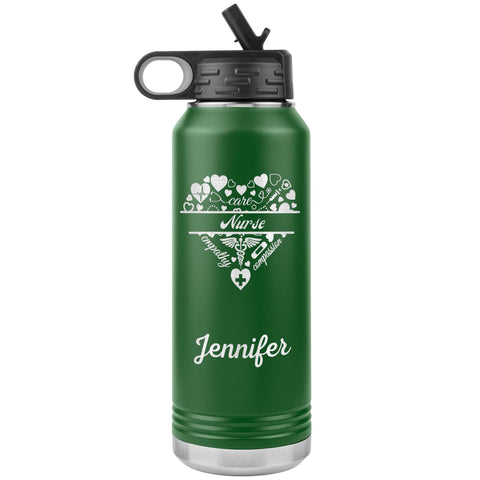"Personalized (Enter Any Name) ""Nurse"" - Laser Engraved, Vacuum Insulated, Custom Water Bottle - 32oz Tumblers Green"