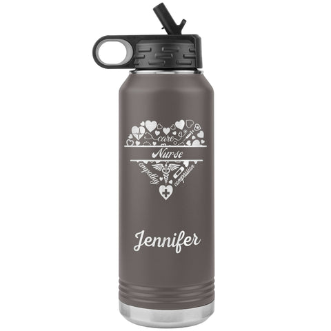 "Personalized (Enter Any Name) ""Nurse"" - Laser Engraved, Vacuum Insulated, Custom Water Bottle - 32oz Tumblers Pewter"