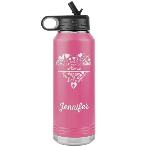 "Personalized (Enter Any Name) ""Nurse"" - Laser Engraved, Vacuum Insulated, Custom Water Bottle - 32oz Tumblers Pink"