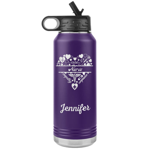 "Personalized (Enter Any Name) ""Nurse"" - Laser Engraved, Vacuum Insulated, Custom Water Bottle - 32oz Tumblers Purple"