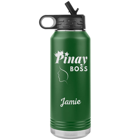 "Personalized (Enter Any Name) ""Pinay Boss"" - Laser Engraved 32oz Water Bottle Tumbler, Tumblers Green"