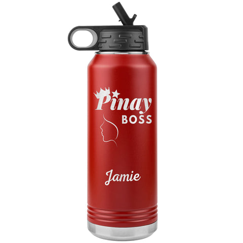 "Personalized (Enter Any Name) ""Pinay Boss"" - Laser Engraved 32oz Water Bottle Tumbler, Tumblers Red"