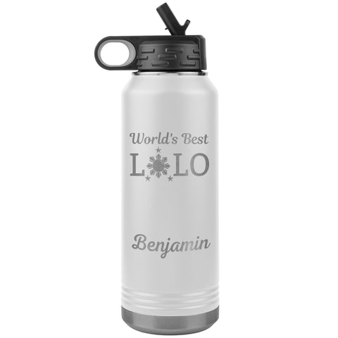"Personalized (Enter Any Name) ""World's Best Lolo"" - Laser Engraved, Vacuum Insulated, Custom Water Bottle - 32oz Tumblers White"