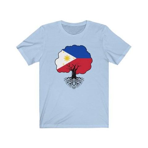"Philippines Flag ""Roots"" - Filipino T-Shirt - Unisex T-Shirt Baby Blue XS"