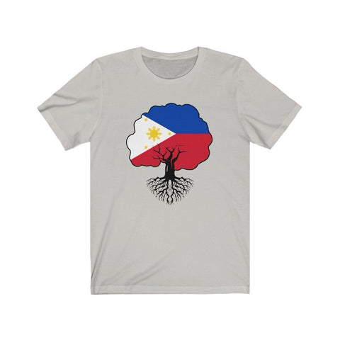 "Philippines Flag ""Roots"" - Filipino T-Shirt - Unisex T-Shirt Silver XS"