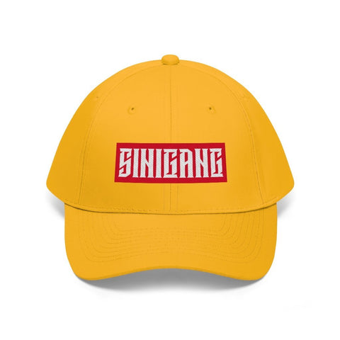 """Sinigang"" Filipino Unisex Twill - Embroidered Dad Hat Hats Gold One size"