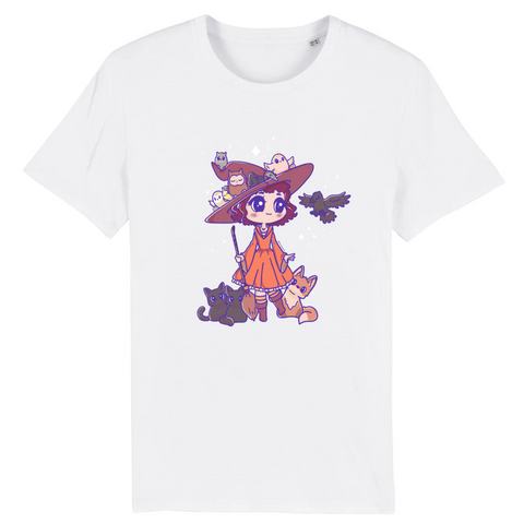 T Shirt Kawaii Magicienne d'Halloween Blanc