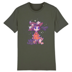 T Shirt Kawaii Magicienne d'Halloween Kaki
