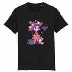 T Shirt Kawaii Magicienne d'Halloween Noir