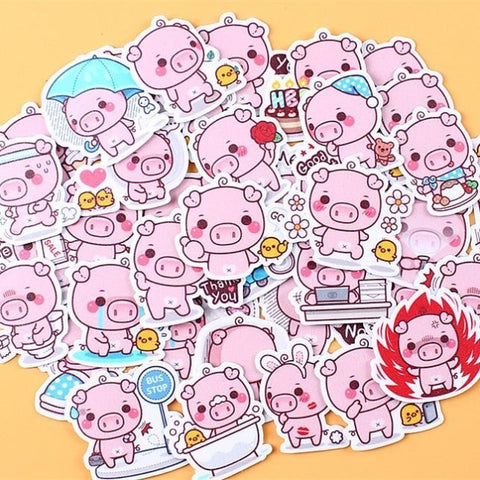 Papeterie Kawaii Stickers Pig Power