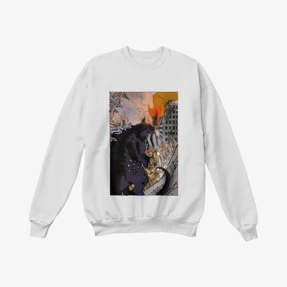 Destroying Your City In The Sunset, Godzilla Crewneck Sweatshirt