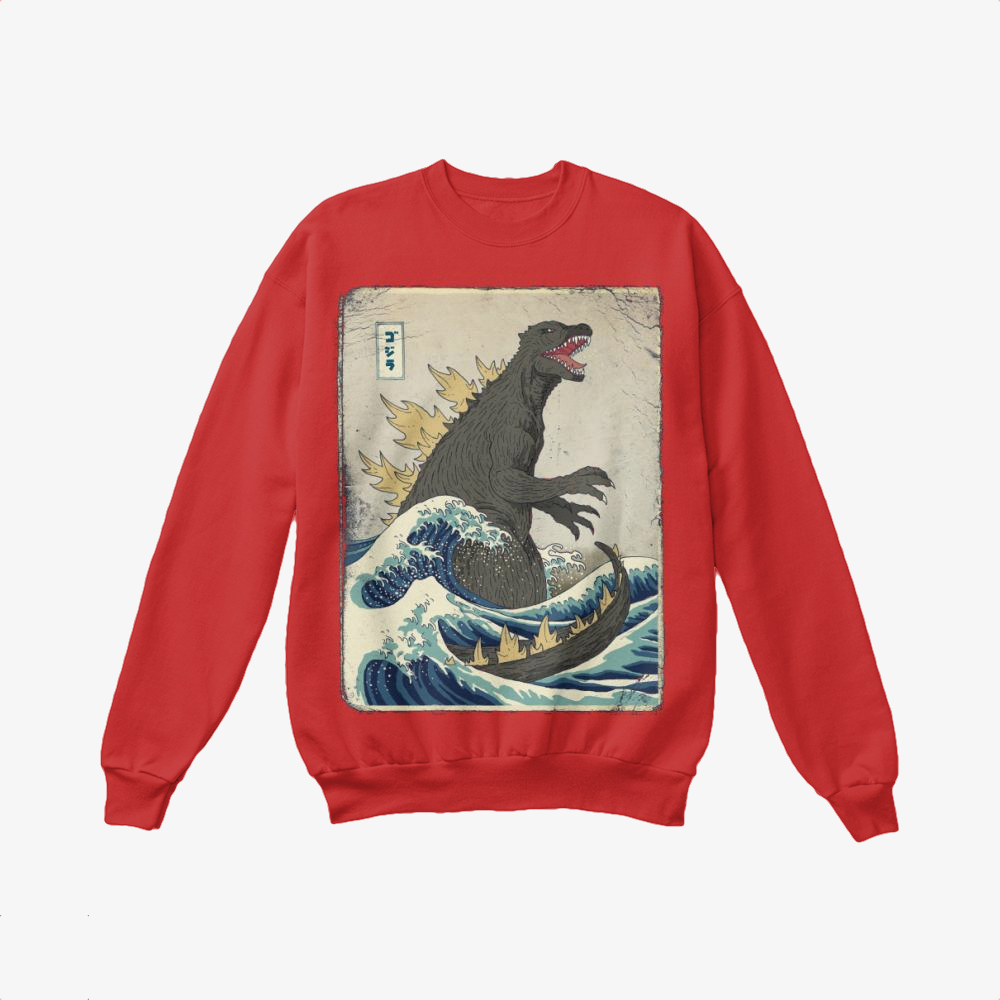 The Great Godzilla Off Kanagawa, Godzilla Crewneck Sweatshirt