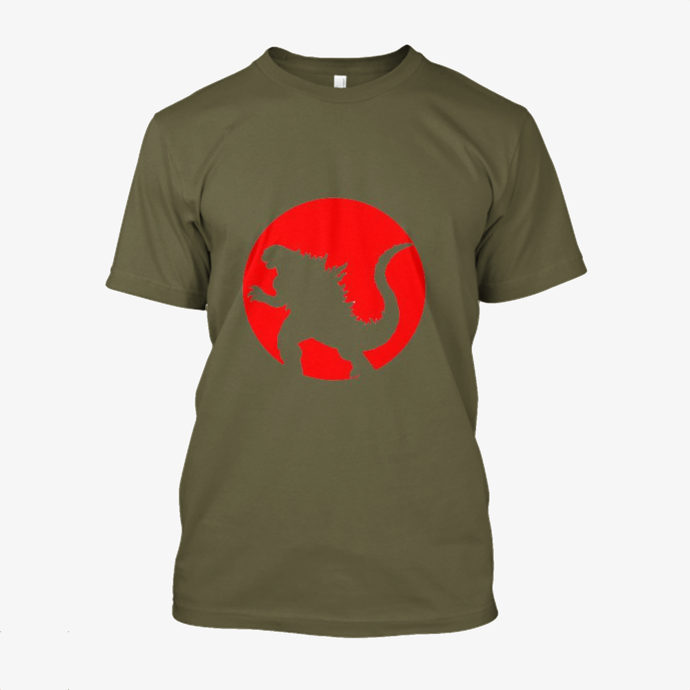 Monster And Japan Flag, Godzilla Cotton T-Shirt