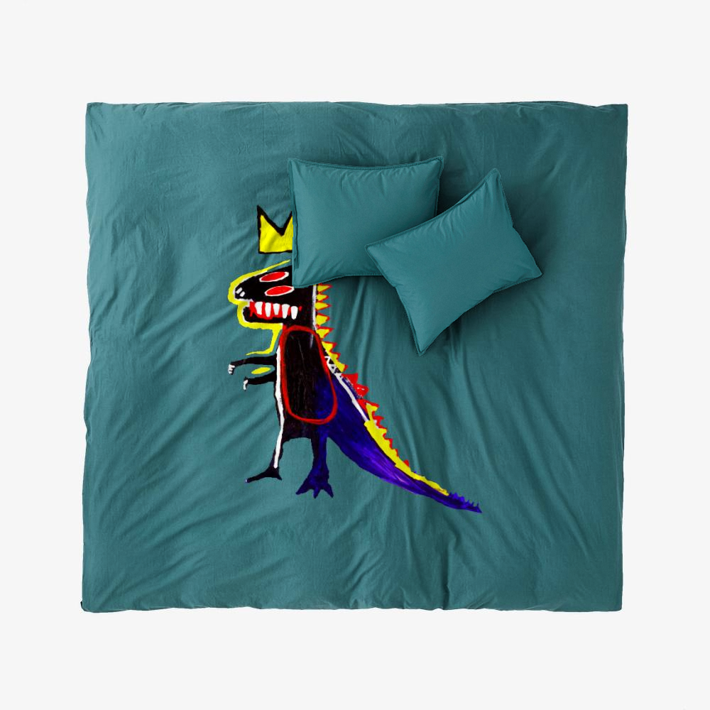 Basquiat Dinosaur King, Jean-michel Basquiat Duvet Cover Set