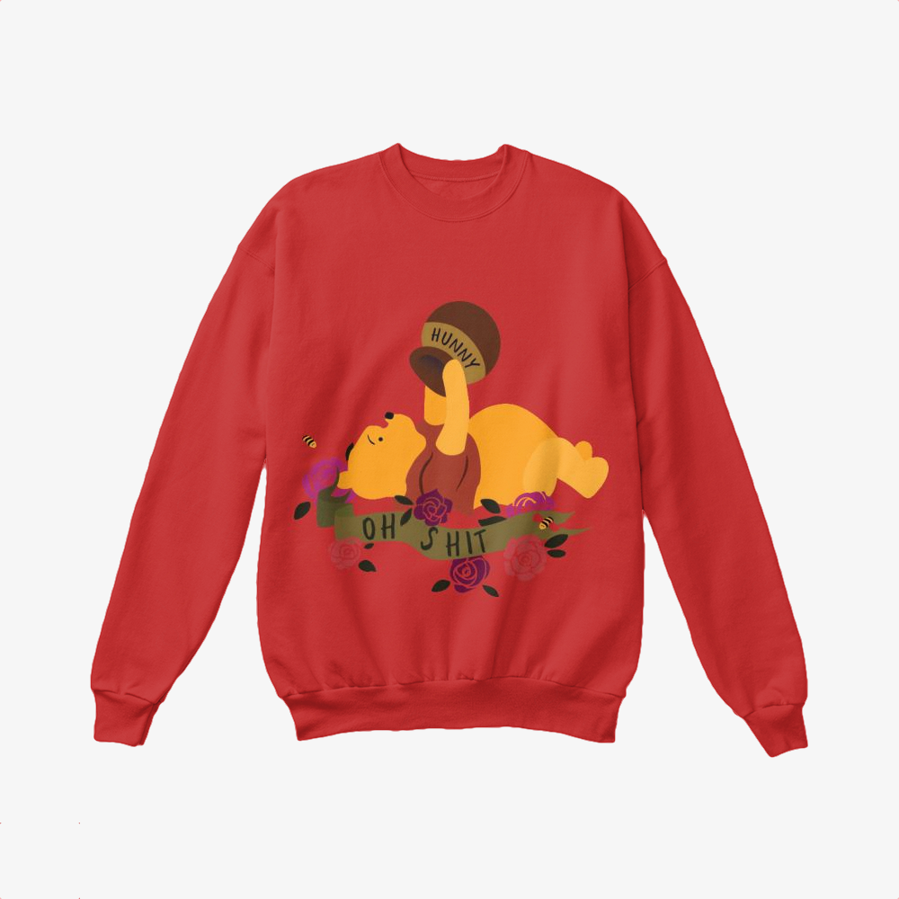 Oh Shit Poohs Out Of Hunny, Winnie-the-pooh Crewneck Sweatshirt