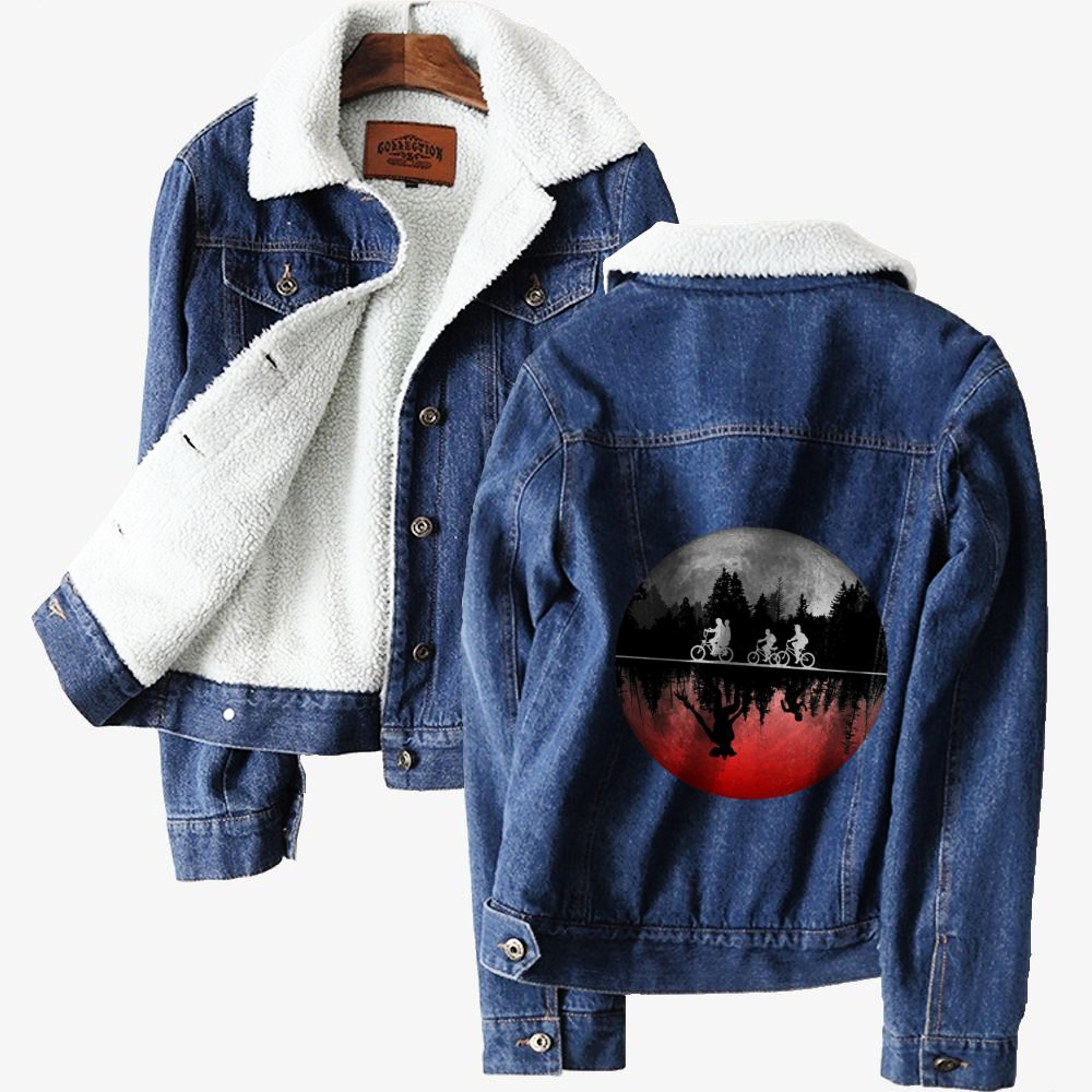 Stranger Things Illustrated Graphic, Horror Film Classic Lined Denim Jacket