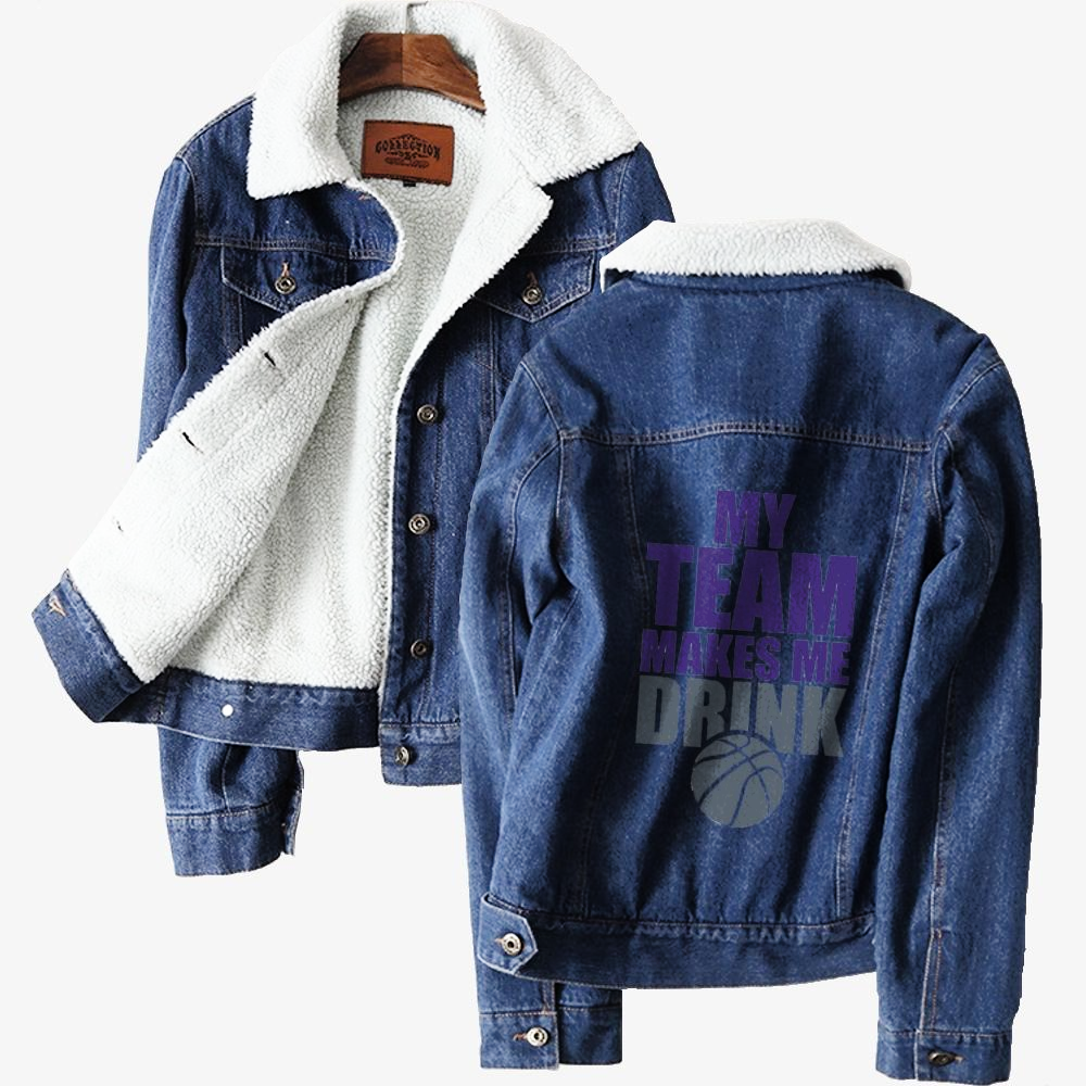 Nba Sacramento Kings Drink, National Basketball Association Classic Lined Denim Jacket
