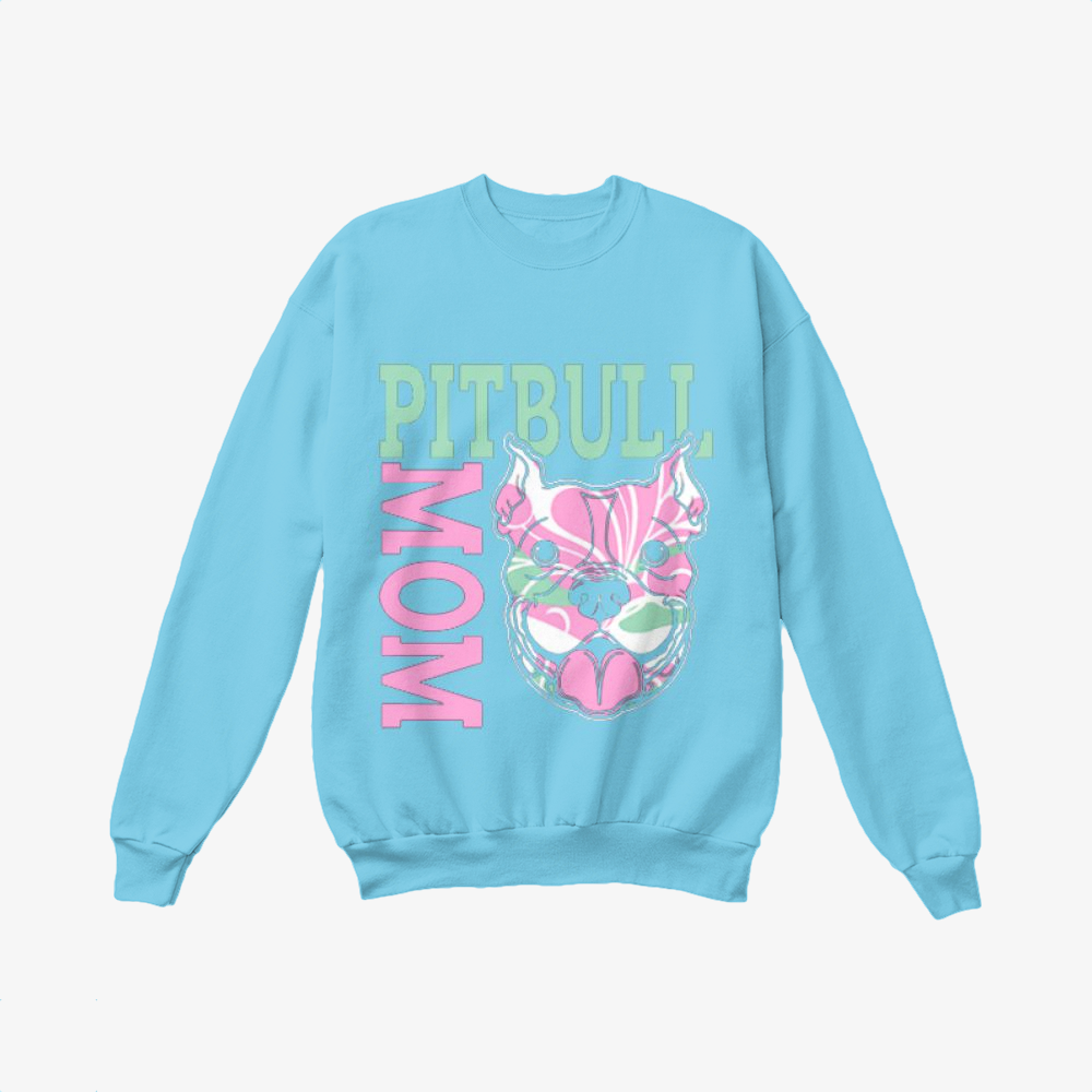 The Pitbull Pink Pit Bull Mom, Pitbull Crewneck Sweatshirt