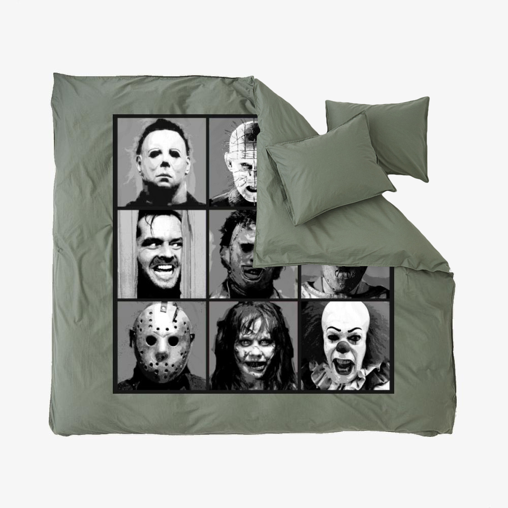 Horror Pop Bw, Horror Film Duvet Cover Set