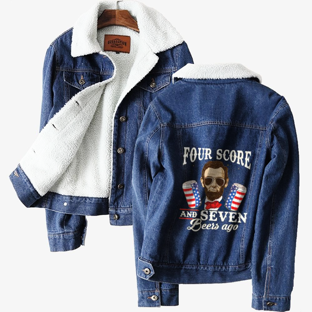 4th Of July, Abraham Lincoln Classic Lined Denim Jacket
