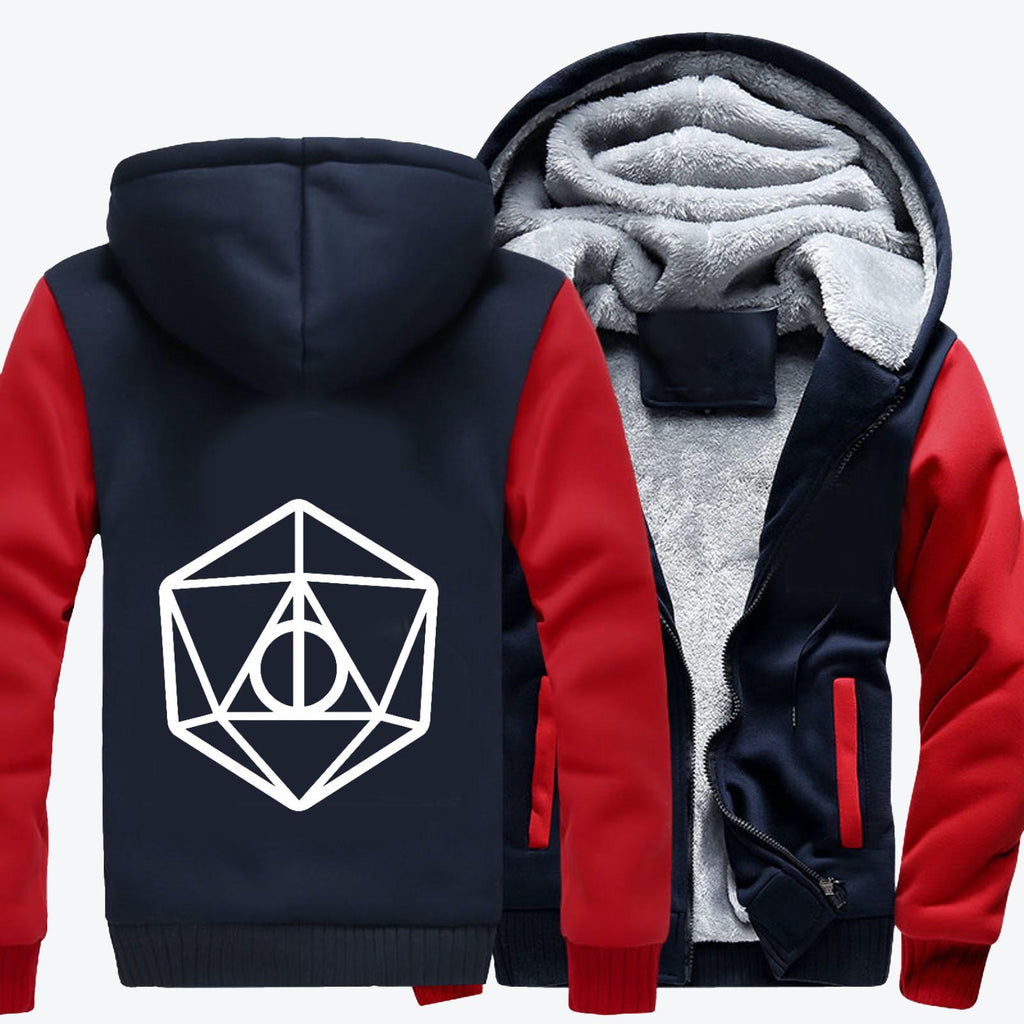 Deathly Hallows Dungeons Dragons D20, Harry Potter Fleece Jacket