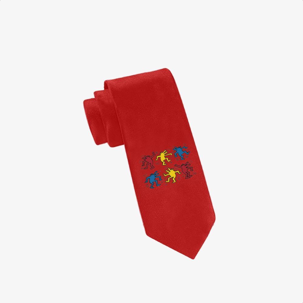 Dogs Dacing, Keith Haring Twill Silk Tie