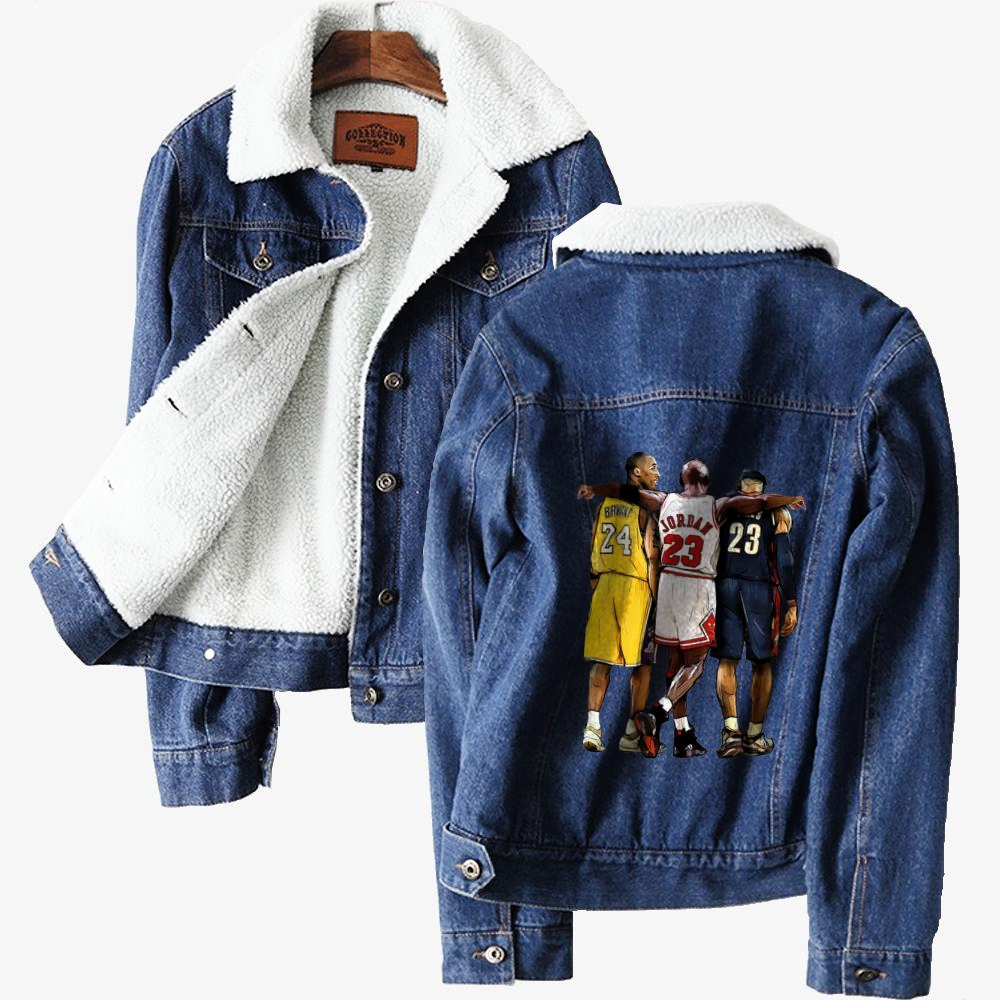 Kobe Michael Lebron James, National Basketball Association Classic Lined Denim Jacket