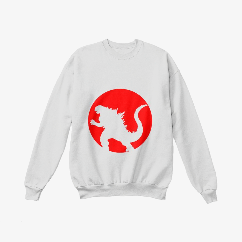 Monster And Japan Flag, Godzilla Crewneck Sweatshirt
