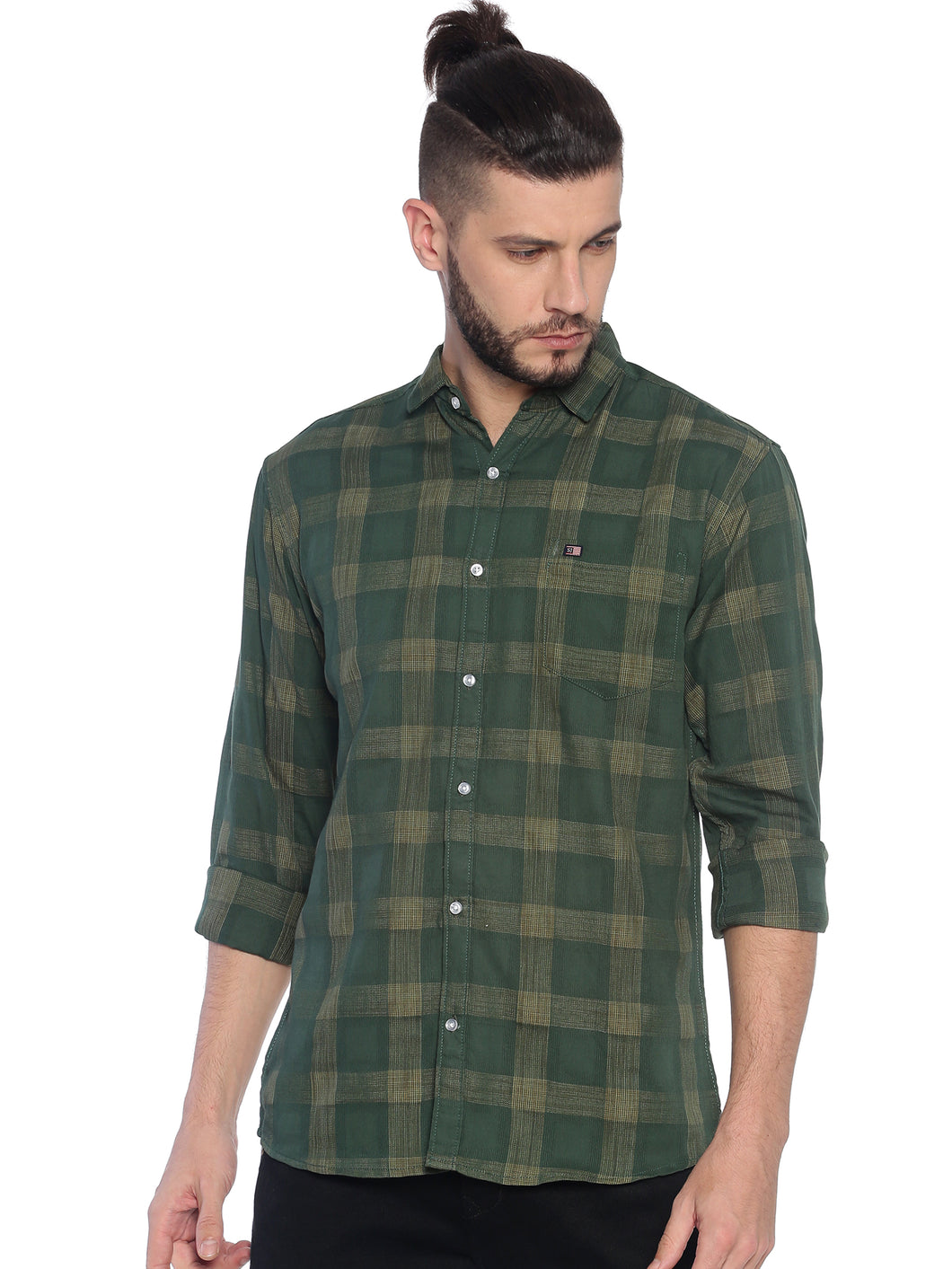 Street Jump Men Slim Fit Checkered Spread Collar Casual Shirt