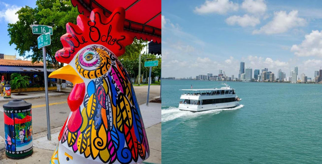Miami City and Boat Tour Combo Little Havana Included plus a FREE Bicycle Rental in South Beach