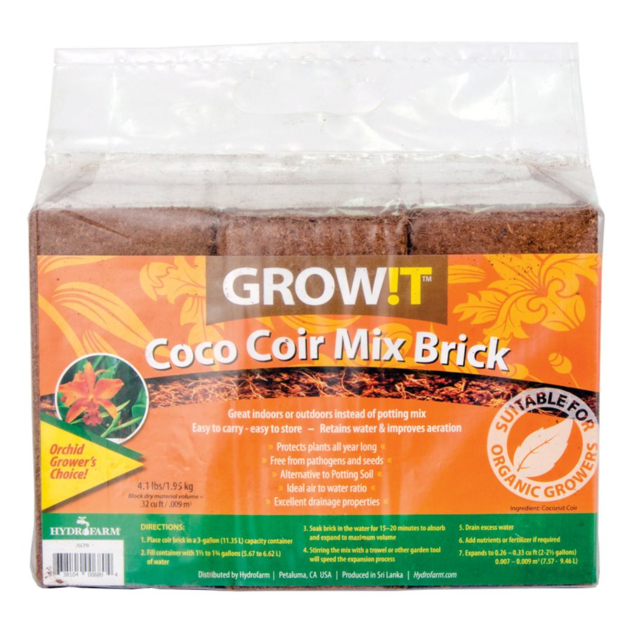 PLANT!T Grow!t Coco Coir Mix Brick 1.9Kg