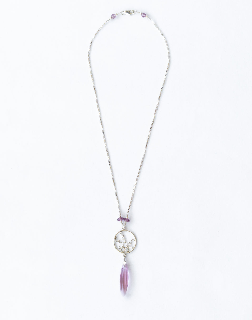 Sterling Silver Necklace with Amethyst and Swarovski Crystal