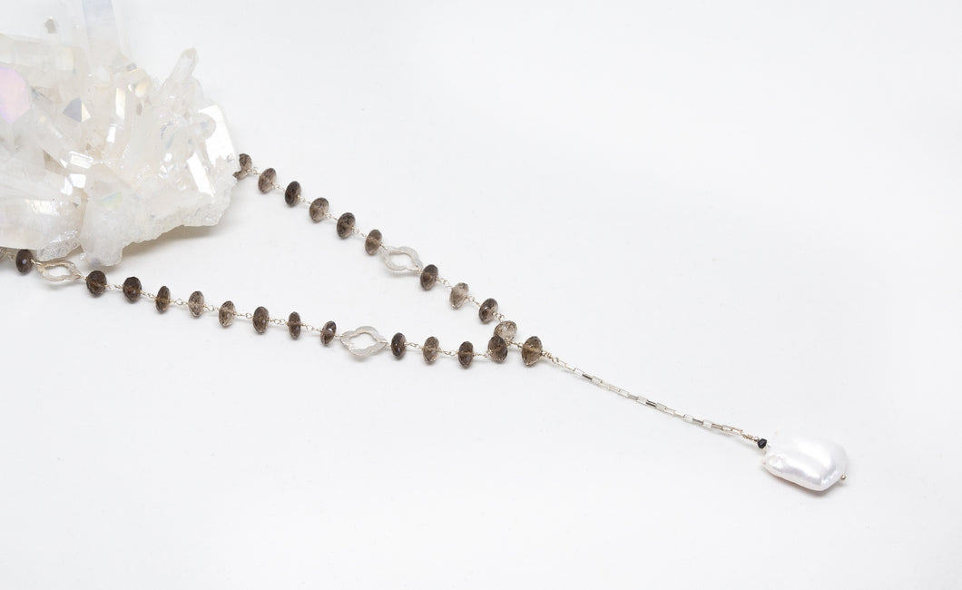Sterling Silver V Necklace with Baroque Pearl