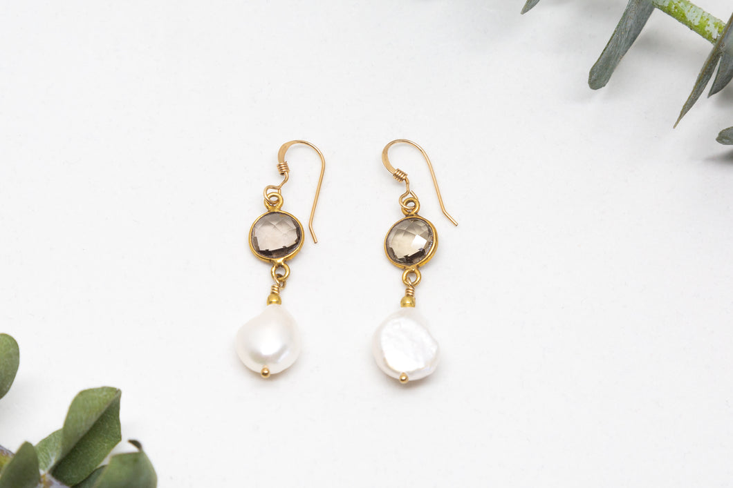 Gold Filled Smoky Quartz and Baroque Pearls Earrings
