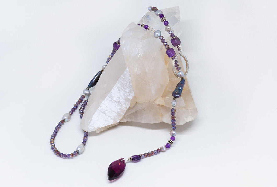 Sterling Silver Lariat with Amethyst