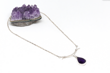 Load image into Gallery viewer, Sterling Silver Necklace with Amethyst Stone