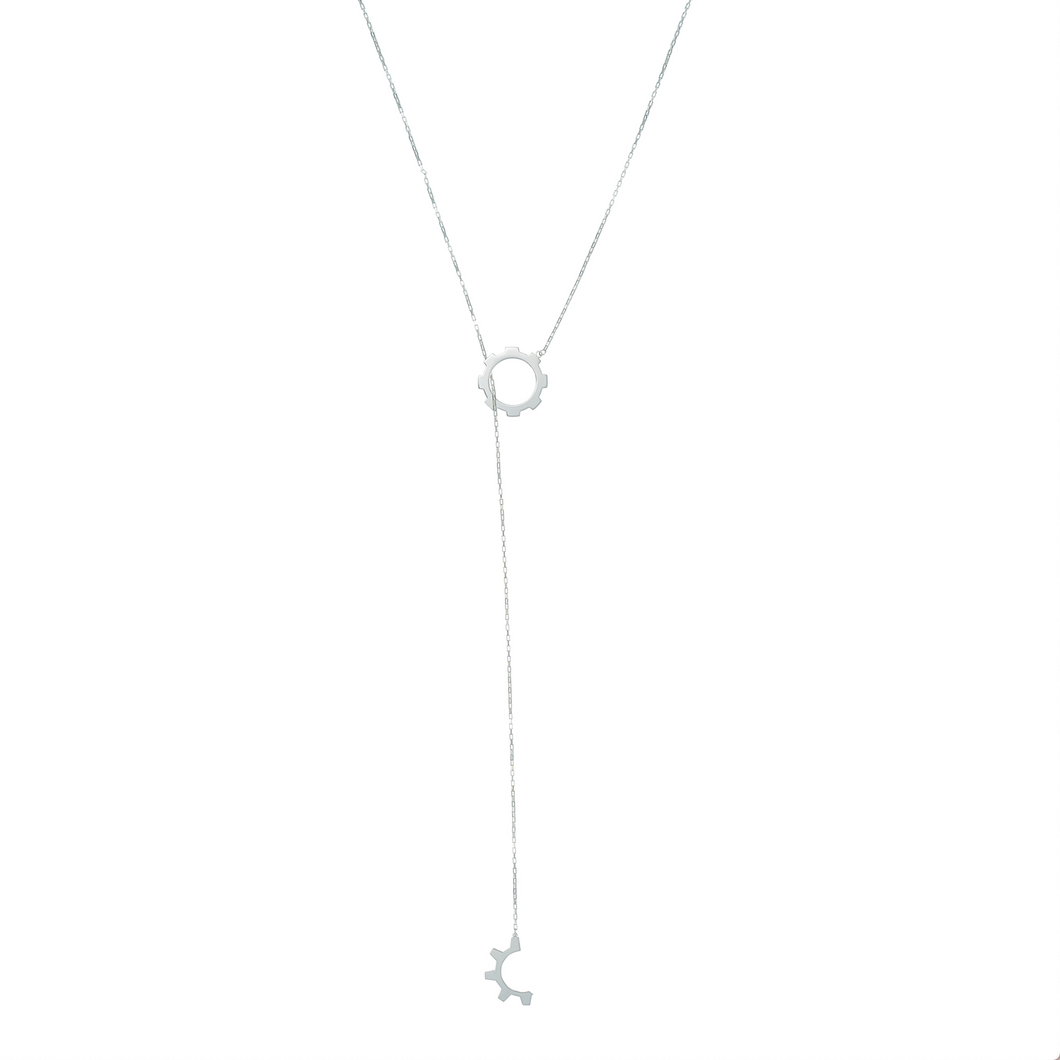 Sterling Silver Gear Lariat Necklace.