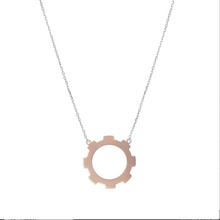 Load image into Gallery viewer, Large Gear Necklace 18k Rose Gold Plated