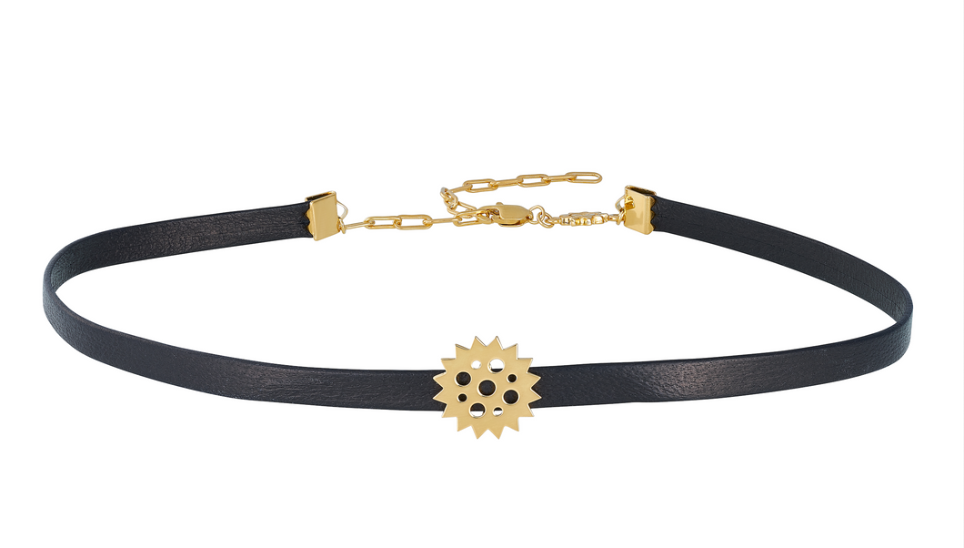 Leather Chocker 18K Gold Plated.