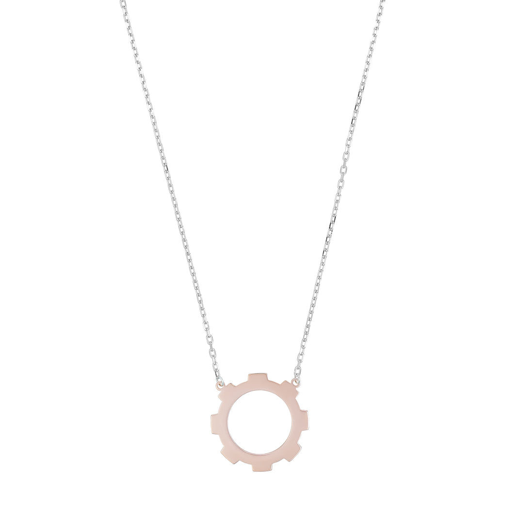 Medium Gear 18k Rose Gold Plated.
